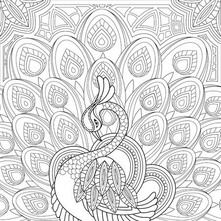 elegante pauw kleurplaat in prachtige stijl