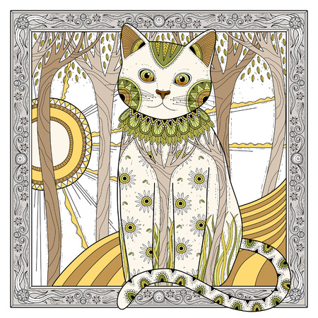 colouring: elegant magic cat coloring page in exquisite style