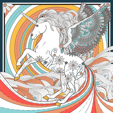 exquisite: fantastic unicorn coloring page in exquisite style