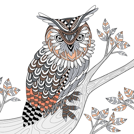 owl tattoo: wise owl coloring page in exquisite style