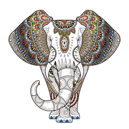 ethnic style: graceful elephant coloring page in exquisite style