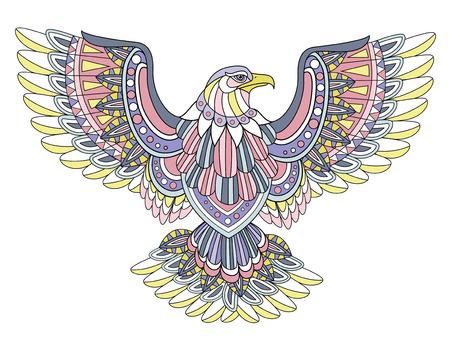 aguila volando: volando para colorear �guila en estilo exquisito Vectores