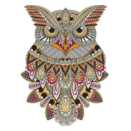 sowa: Obfite Strona sowa kolorystyka w przepięknym stylu Ilustracja