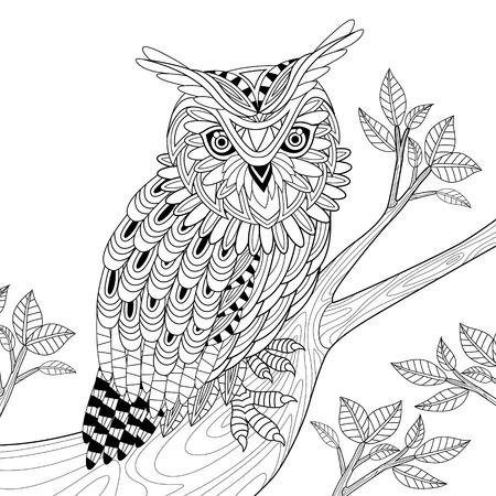 wijze uil kleurplaat in prachtige stijl Stock Illustratie