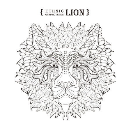 Lion Head Coloring Page In Exquisite Style Royalty Free Cliparts ...