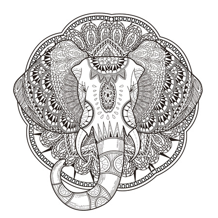 black and white line drawing: graceful elephant coloring page in exquisite style
