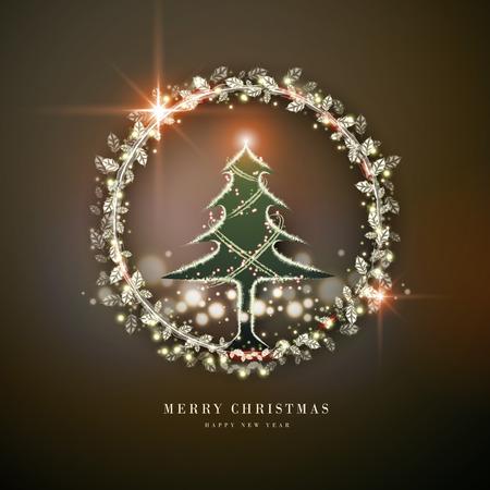 빛나는 나무와 화려한 메리 크리스마스 포스터 디자인 일러스트