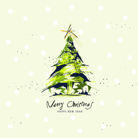 christmas poster: elegant Merry Christmas poster design with hand drawn ink tree Illustration