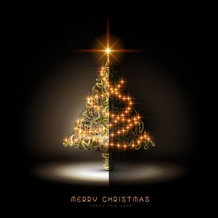 navidad elegante: magnífico brillante árbol de Navidad en la oscuridad Vectores