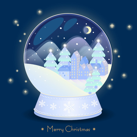christmas snow globe: elegant Christmas snow globe with beautiful town in it