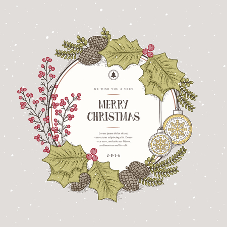 wreath christmas: lovely Merry Christmas wreath card design in hand drawn style Illustration