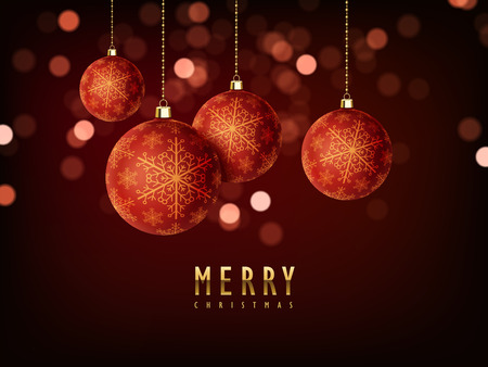 3d abstract backdrop: gorgeous Merry Christmas background design with baubles elements Illustration