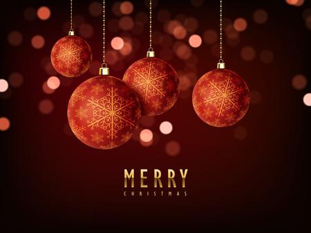 Magnifique conception de fond Joyeux Noël avec des éléments de babioles Banque d'images - 46134844