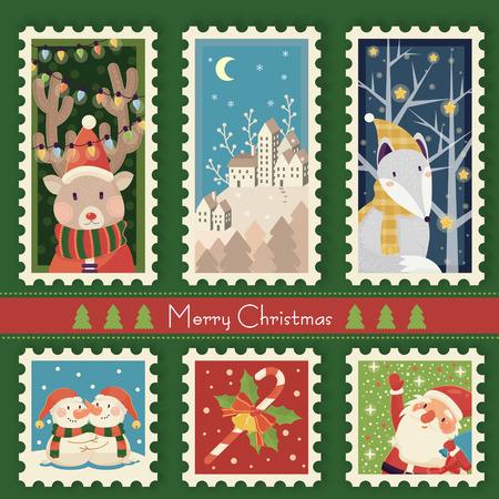 다른 요소와 환상적인 크리스마스 우표 수집 템플릿 디자인
