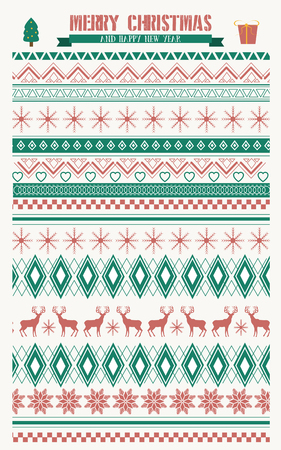 atmosfera: Merry Christmas  traditional pattern design in red and green