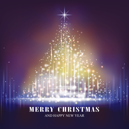 gorgeous: gorgeous Merry Christmas tree glowing in the dark Illustration