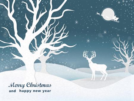 venado: elegante noche de Navidad paisaje cubierto de nieve de fondo con un ciervo Vectores