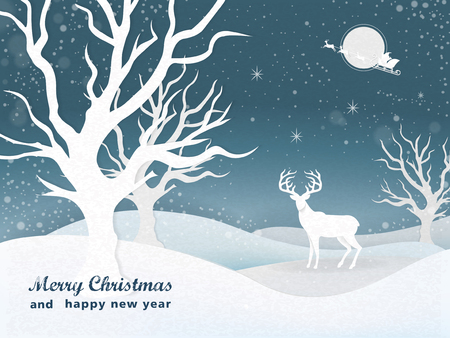 night scenery: graceful Christmas night snowy scenery background with a deer Illustration