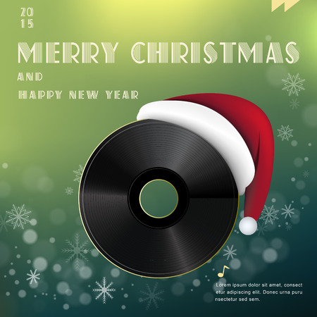 winter holiday: Merry Christmas poster design with vinyl record
