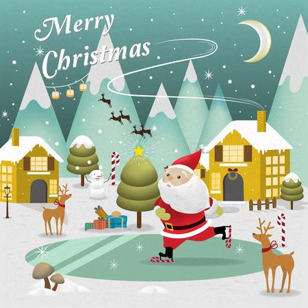 Paisaje adorable Feliz Navidad con Santa Claus patinaje en el lago Foto de archivo - 46134860