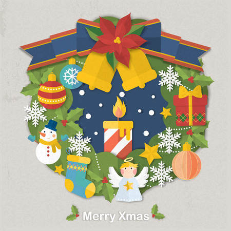 textura papel: adorable Christmas ornate wreath in paper texture