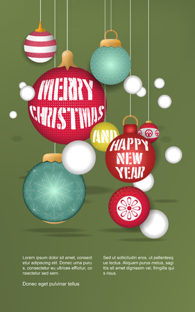 christmas elements: lovely Christmas baubles hanging over green background