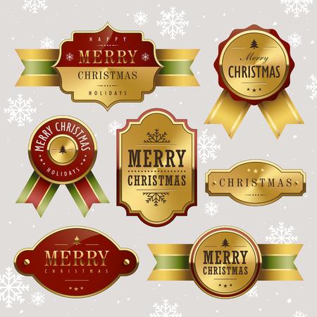 灰色の背景の上の豪華なクリスマス金属ラベル
