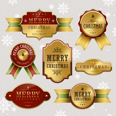 gorgeous Christmas metal label over grey background