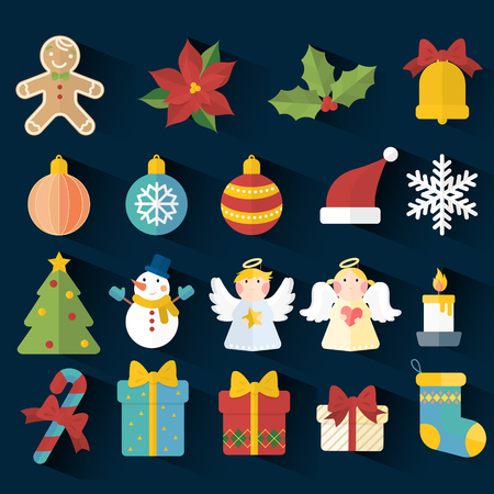 flor de pascua: elementos adorables de Navidad en diseño plano aislados sobre fondo oscuro Vectores