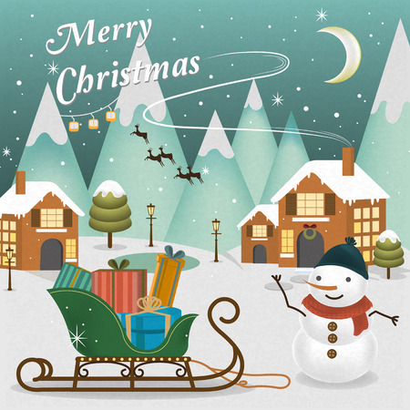 adorable Merry Christmas scenery with snowman waving his hand