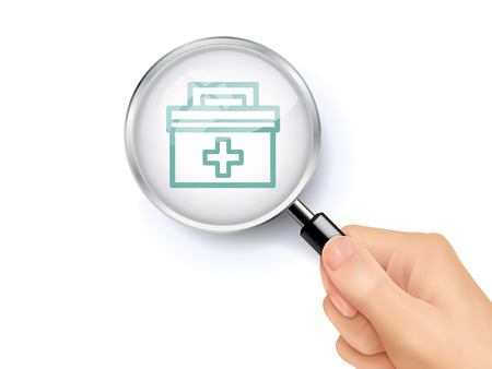 man close up: first aid case icon showing through magnifying glass held by hand Illustration