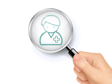 medical personnel: medical personnel icon showing through magnifying glass held by hand Illustration