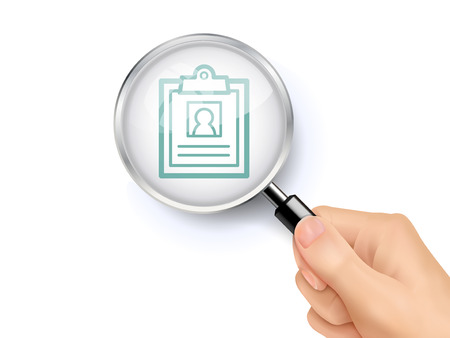 clinical record icon showing through magnifying glass held by hand 일러스트