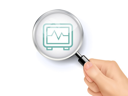 electrocardiogram showing through magnifying glass held by hand Illustration