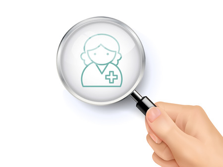 sign up: doctor icon showing through magnifying glass held by hand