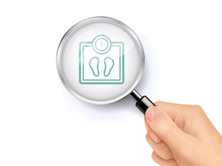 weight scale icon showing through magnifying glass held by hand Illustration