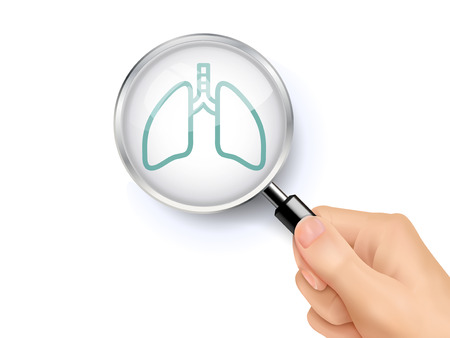 lung icon showing through magnifying glass held by hand