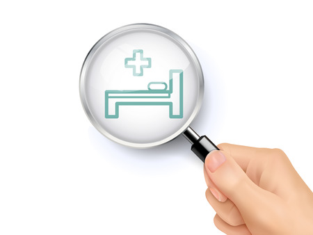 white people: hospital bed icon showing through magnifying glass held by hand Illustration
