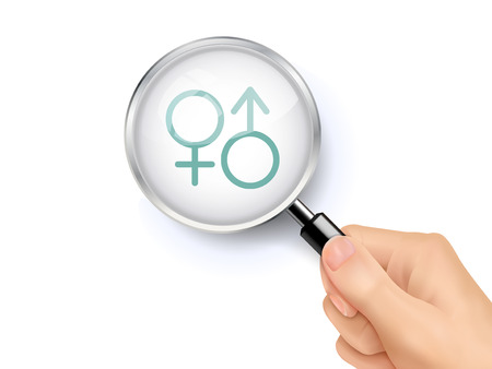 heterosexual: gender symbol icon showing through magnifying glass held by hand