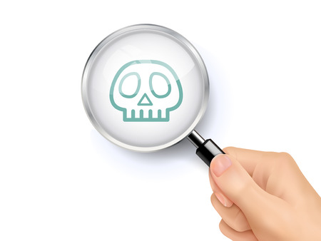 skull icon showing through magnifying glass held by hand
