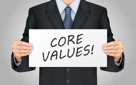 valores morales: close-up mira empresario de soporte de núcleo valora cartel