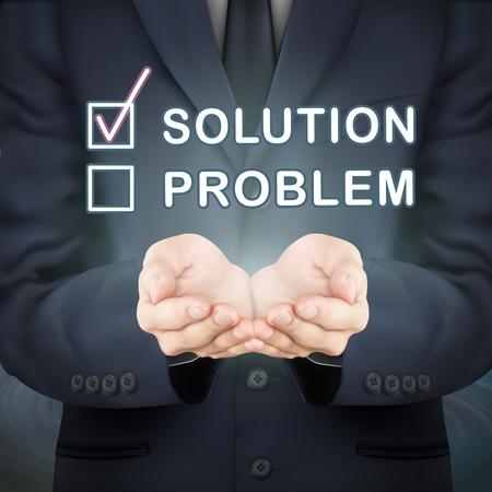problem solution: close-up look at businessman holding solution word Illustration