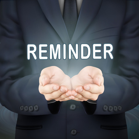 close-up look at businessman holding reminder word Illustration