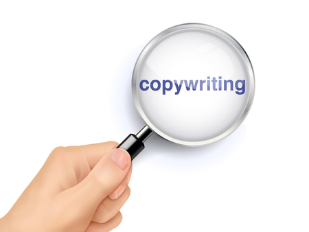 copywriting: copywriting word showing through magnifying glass held by hand Illustration