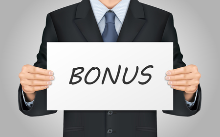 beneficial: close-up look at businessman holding bonus poster