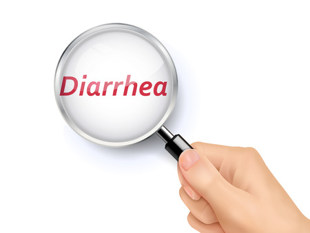 gastroenteritis: diarrhea word showing through magnifying glass held by hand