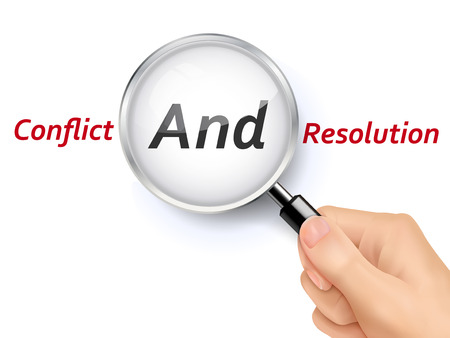 reconciliation: conflict and resolution words showing through magnifying glass held by hand