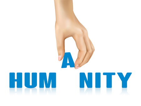 humanity word taken away by hand over white background