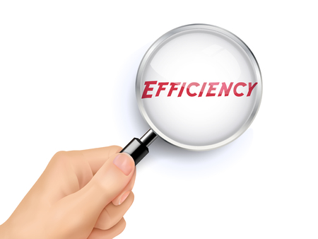 efficiency word showing through magnifying glass held by hand
