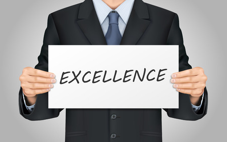 close-up look at businessman holding excellence poster